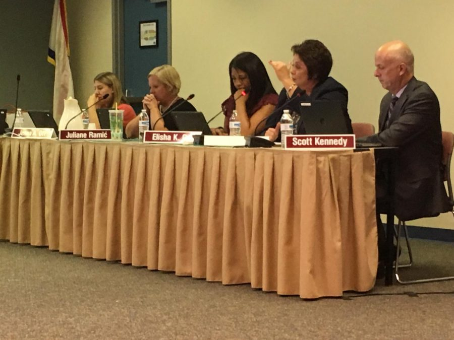 Over the past three years, attending School Board meetings has played a significant role in my high school career. Shown above is a photo from a Board meeting earlier this school year.