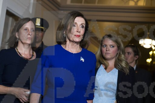UNITED STATES - SEPTEMBER 24: Speaker of the House Nancy Pelosi, D-Calif., arrives for a meeting with the House Democratic Caucus about an impeachment inquiry of President Trump in the Capitol on Tuesday, September 24 2019. (Photo By Tom William/CQ Roll Call)