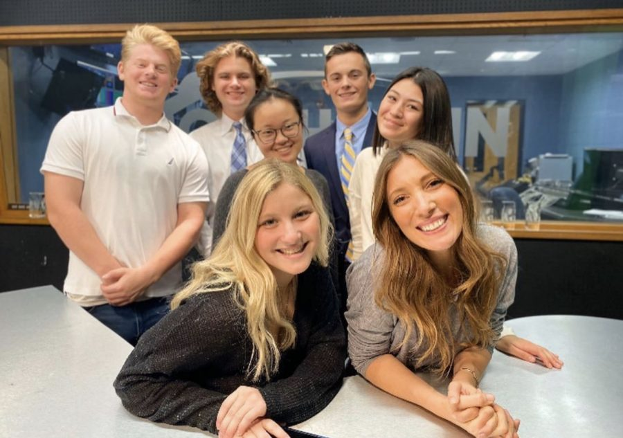 (From left to right) Spencer Heilveil, Justin O'Neil, Erik Jesberger, Cassie Montgomery, Sophia Hughes, and Brigid Heubner pictured with CBS 3 Eyewitness News reporter Vittoria Woodill as she stopped by the studio.