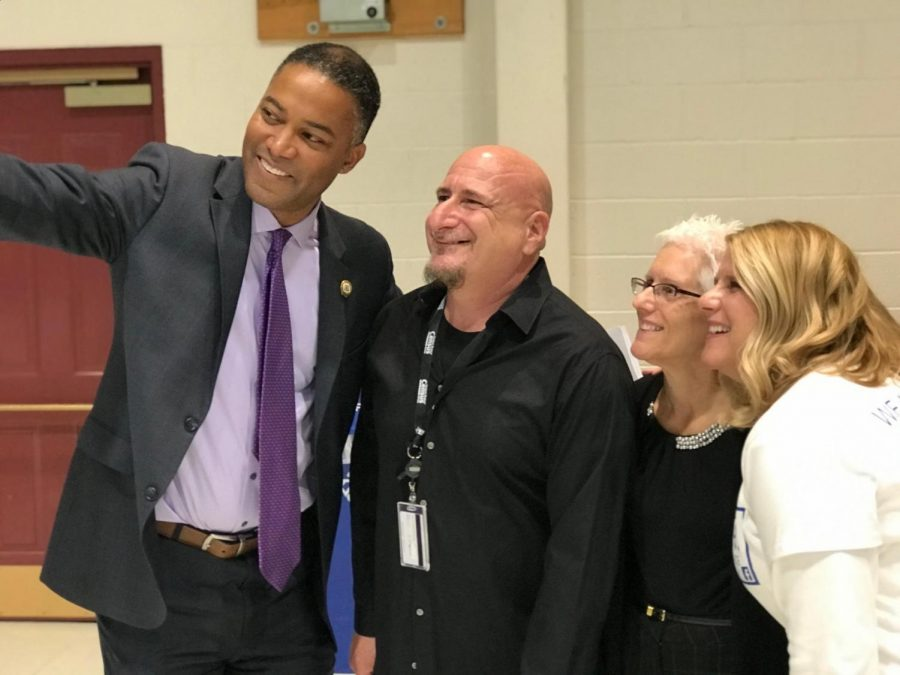 Montgomery County Commissioner Ken Lawrence Jr. (left) takes a selfie with Richard Buttacavoli, Lori Schreiber, and Beth Staab.