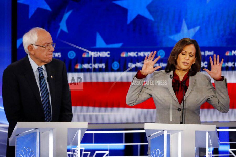 Democratic+presidential+candidate+Sen.+Kamala+Harris%2C+D-Calif.%2C+speaks+as+Democratic+presidential+candidate+Sen.+Bernie+Sanders%2C+I-Vt.%2C+listens+during+a+Democratic+presidential+primary+debate%2C+Wednesday%2C+Nov.+20%2C+2019%2C+in+Atlanta.+%28AP+Photo%2FJohn+Bazemore%29