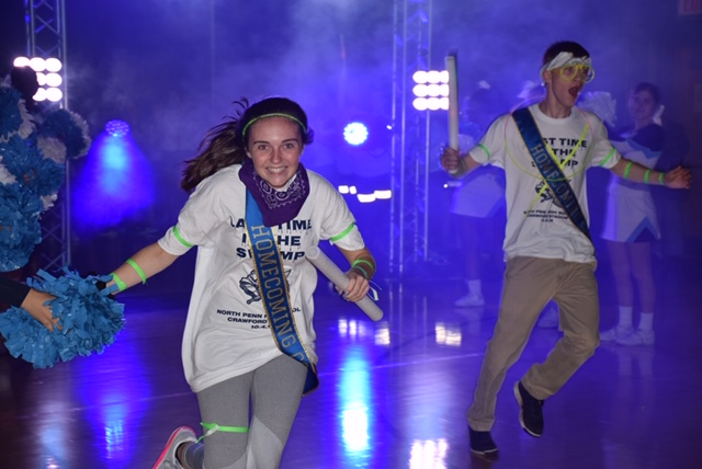 Gianna+Costello+and+Ryan+Green+celebrate+at+the+2019+Homecoming+Pep+Rally.