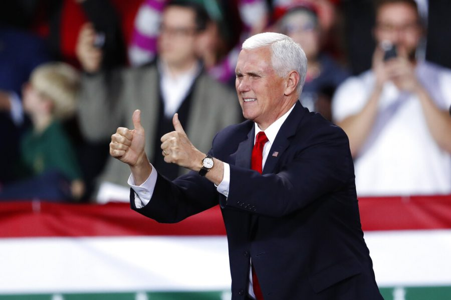 Vice President Mike Pence speaks at a campaign rally in Battle Creek, Mich., where he introduced President Donald Trump Wednesday, Dec. 18, 2019. (AP Photo/Paul Sancya)