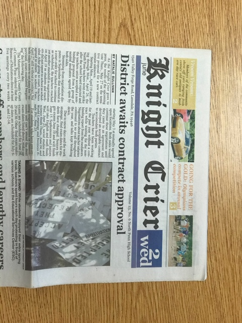 The Knight Crier print edition from June 2, 2010, detailing the teachers' strike.