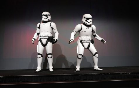 Star Wars stormtroopers stand on stage during a Panasonic news conference before the CES tech show, Monday, Jan. 6, 2020, in Las Vegas. (AP Photo/John Locher)