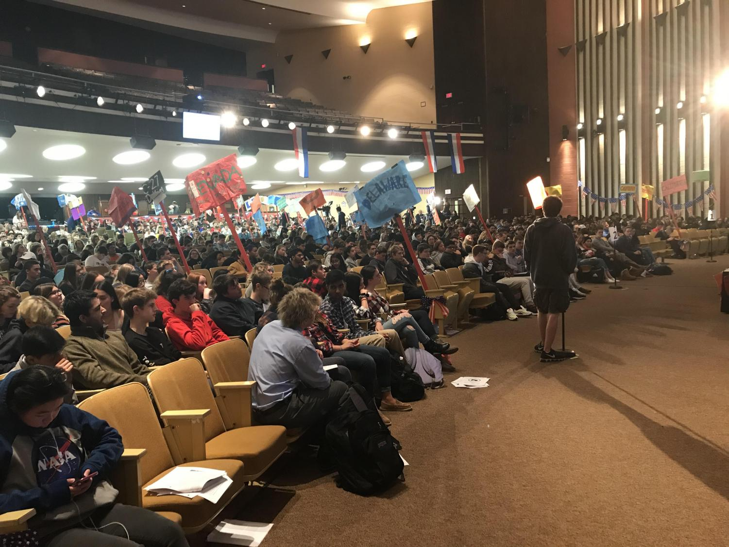 The NPHS auditorium was buzzing with politics on Fri., Jan 3 as students conducted the 2020 Mock Democratic National Convention.