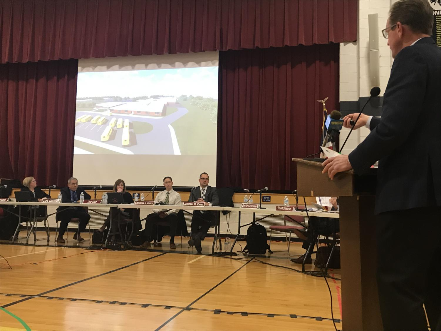 Architect David Schrader presents details of the Knapp renovation project to the North Penn School Board.