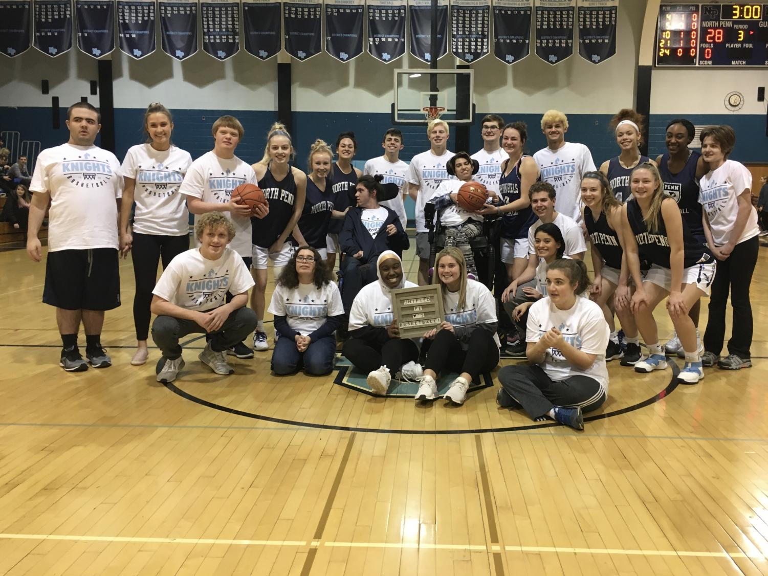 The unified basketball game was an opportunity for athletes in the inclusive gym class to have fun and show off their basketball skills.