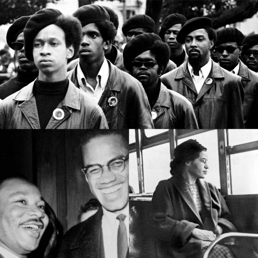 Top: Black Panther Party. Bottom (L-R): Martin Luther King, Jr.; Malcolm X; Rosa Parks