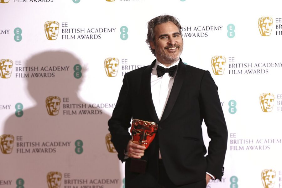 Actor+Joaquin+Phoenix+poses+with+his+award+for+Best+Actor+for+the+film+Joker%2C+backstage+at+the+Bafta+Film+Awards%2C+in+central+London%2C+Sunday%2C+Feb.+2%2C+2020.+%28Photo+by+Joel+C+Ryan%2FInvision%2FAP%29