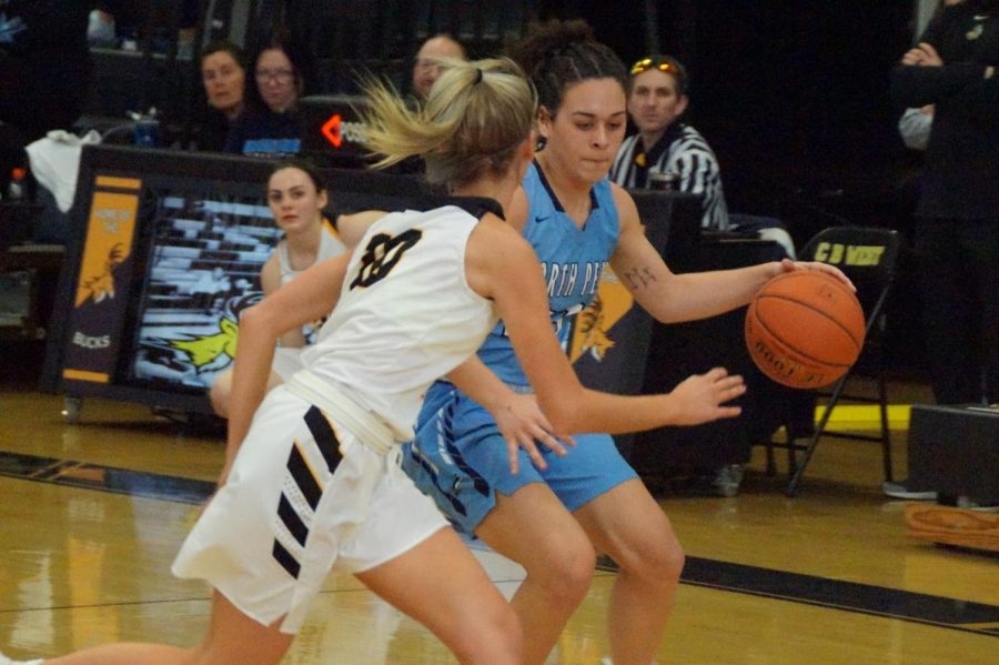 Pushing the Pace: Carley Adams dribbles with Olivia Irons guarding her in a fast-paced game between the Knights and Bucks.