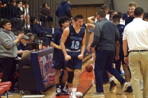 Barrow Calls Game: Kolby Barrow celebrates his buzzer beater.