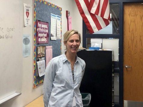 Mrs. Jami Behm smiles in her K-pod classroom.