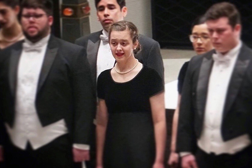 Emma+Moyer+sings+with+the+Westminster+Choir+as+a+sophomore.+