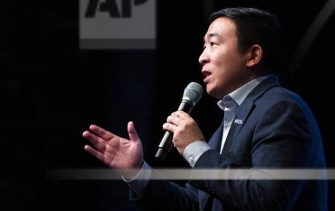 Democratic presidential candidate entrepreneur Andrew Yang speaks during the New Hampshire Youth Climate and Clean Energy Town Hall, Wednesday, Feb. 5, 2020, in Concord, N.H. (AP Photo/Mary Altaffer)