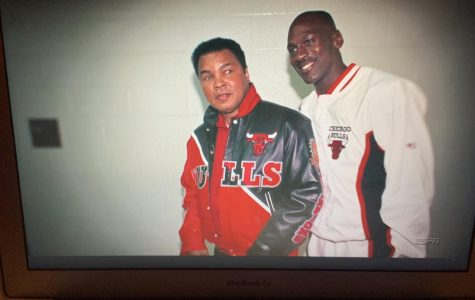 A great photo with two global icons, Muhammad Ali (left) and Michael Jordan (right).