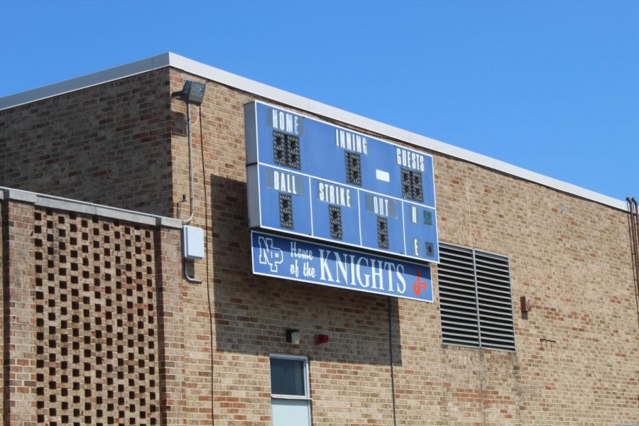 The North Penn Baseball Ball sign is dark as the 2020 Baseball season was cancelled in April.