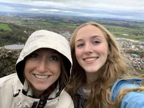 Curran (R) and her stepsister (L) when she visited in November. They went hiking at the Rosenberg.