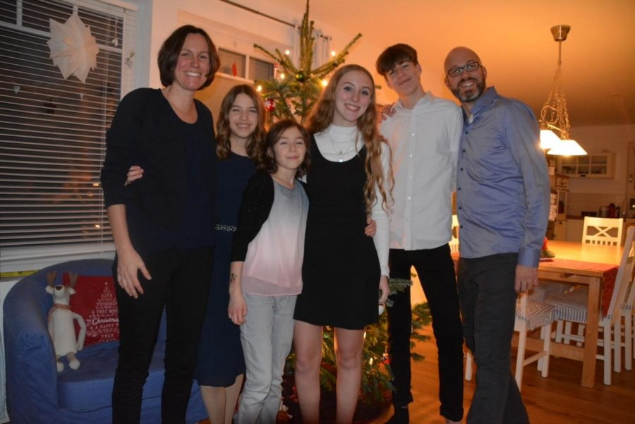 Curran with her host family on Christmas Eve.