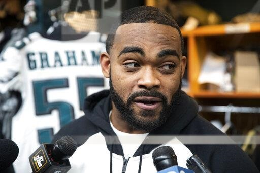 Philadelphia Eagles defensive end Brandon Graham speaks with members of the media at the NFL football team's practice facility in Philadelphia, Monday, Jan. 6, 2020. The eagles ended their season with a 17-9 loss to the Seattle Seahawks on Sunday. (AP Photo/Matt Rourke)