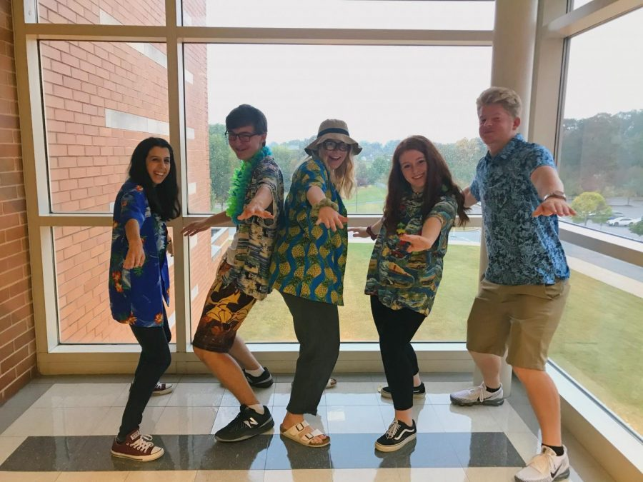 Me and fellow (former) Knight Crier staff members Angela Tessitore, Julia Smeltzer, Abbie Puketza, and Spencer Heilveil posing back in September as part of Spirit Week.