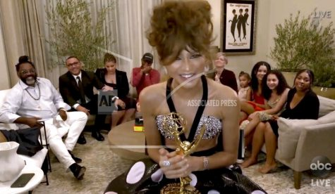 "In this video grab captured on Sept. 20, 2020, courtesy of the Academy of Television Arts & Sciences and ABC Entertainment, Zendaya accepts the award for outstanding lead actress in a drama series for ""Euphoria"" during the 72nd Emmy Awards broadcast. (The Television Academy and ABC Entertainment via AP)"