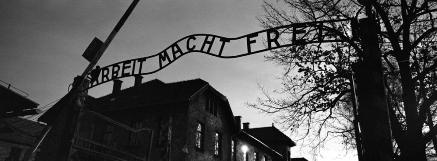 The main entrance at the former Nazi death camp of Auschwitz in Oswiecim, Poland, with the inscription, 'Arbeit Macht Frei', which translates into English as '