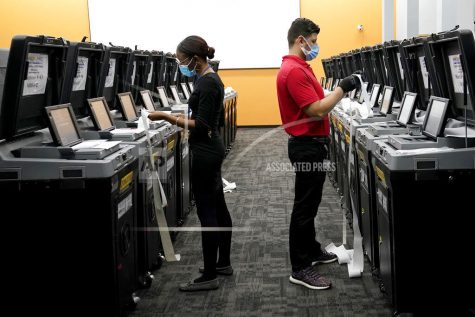 Employees at the Broward Supervisor of Elections Office conduct logic and accuracy testing of equipment used for counting ballots, Thursday, Sept. 24, 2020, in Lauderhill, Fla. Vote-by-mail ballots for the general election will begin going out to residents in Broward County Thursday. (AP Photo/Lynne Sladky)