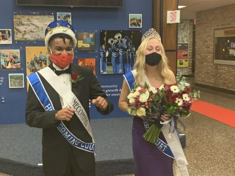 KING AND QUEEN MASKED AND CROWNED: Keenan Washington (L) and Landry Holt (R) named HOCO King and Queen in a private ceremony at NPHS, October 16, 2020.