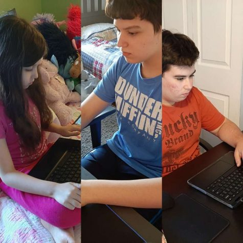 Gianna, Ben, and Tyler Letcher are a microcosm of the district; three levels of online schooling under one roof.