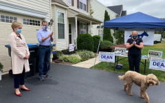 North Penn School Board member, Jonathan Kassa (Center), and Pennsylvania State Representative, Madeleine Dean (Far Left) talk to a group of literature droppers about their campaigns for the upcoming election, hosted by Montogmery Township Supervisor, Beth Staab (Far Right).