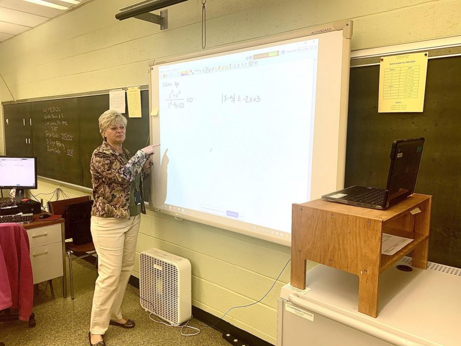 Math Teachers Divide... and Conquer:  Mrs. Lisa Wright teaches her 1st period math class at North Penn High School on Tuesday, October 20, 2020. Wright has been teaching from the building since the beginning of the school year and now faces the hybrid learning model beginning in a few weeks.