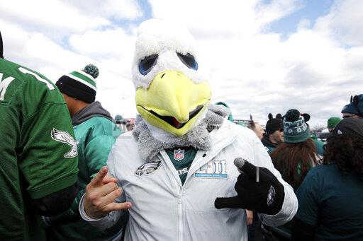 Philadelphia Eagles fans rally before a game in the 2019-2020 NFL.