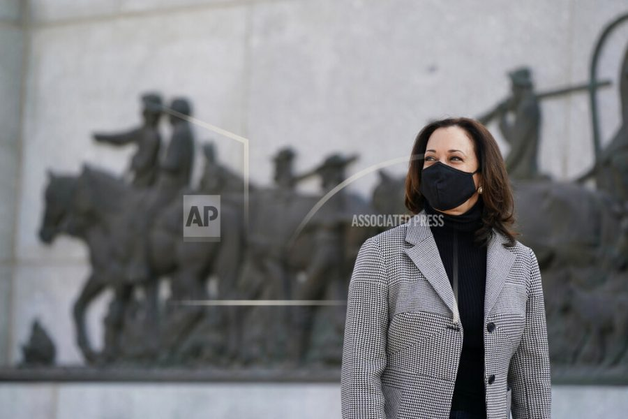 Democratic vice presidential candidate, Sen. Kamala Harris, D-Calif., visits the This Is the Place Monument, Saturday, Oct. 3, 2020, in Salt Lake City. The monument commemorates the end of the westward journey of Mormon pioneers to Utah as well as early explorers of the West. (AP Photo/Patrick Semansky)