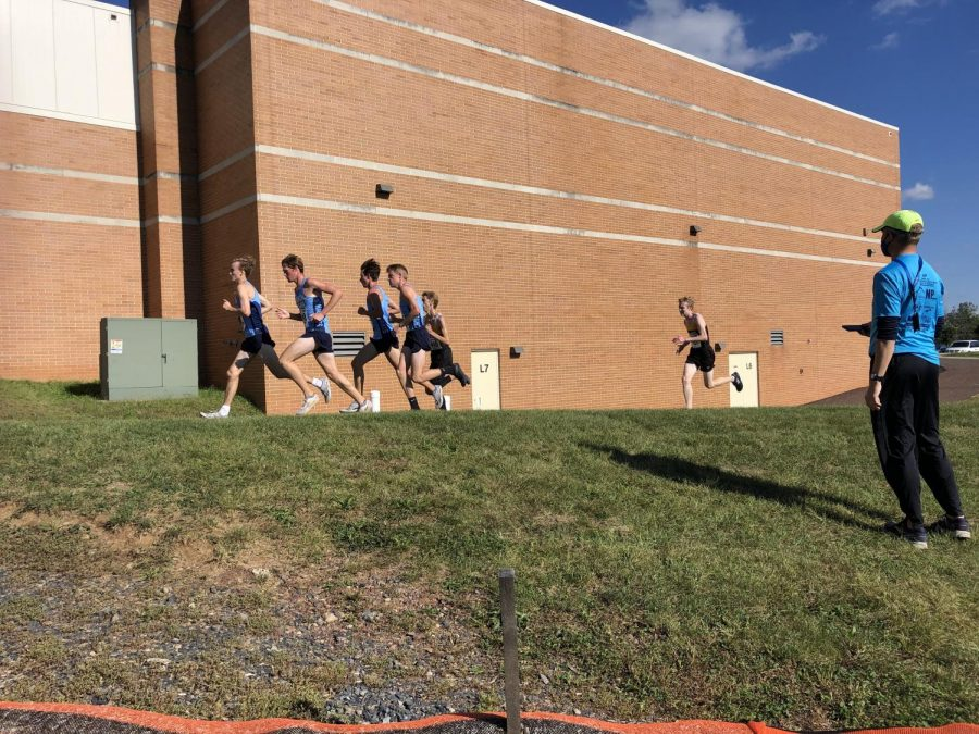 The North Penn boys XC team makes their way around their altered course on 9.30.2020. The pandemic and stadium construction at NPHS has certainly changed things for the XC team in 2020.