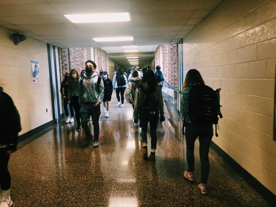 Students move from class to class at North Penn High School on November 12, 2020. Navigating the halls has been nothing compared to navigating 2020 for the teenage population around the world.