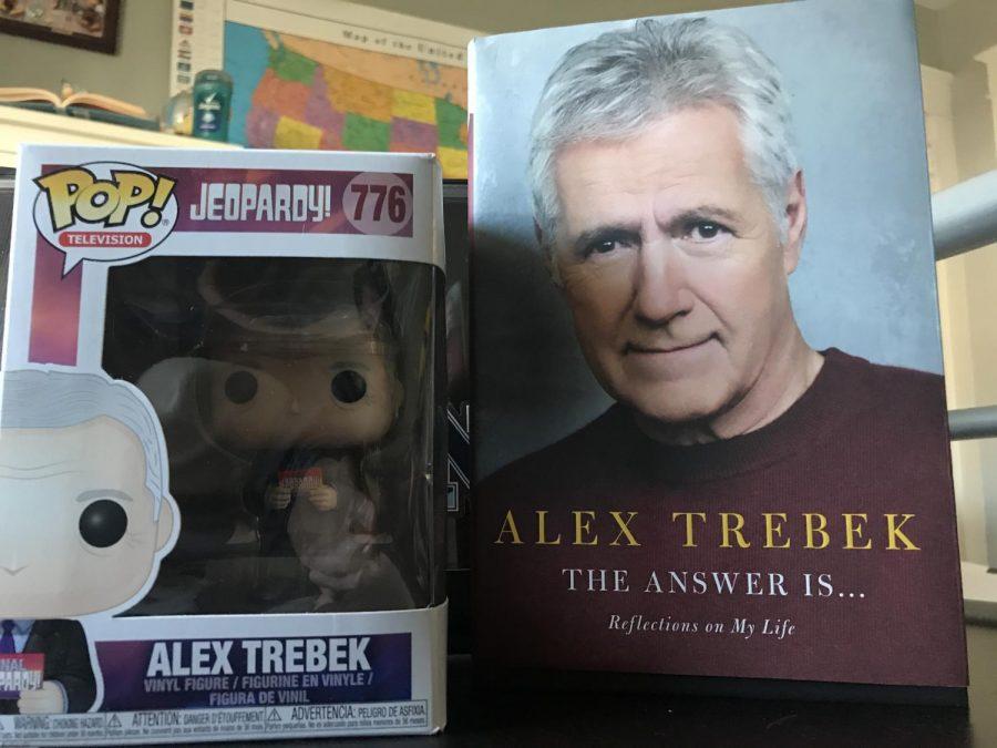 Alex Trebek's Funko Pop, along with his touching 2020 memoir.