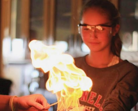Lighting up her future - Melanie Tanis works on a chem experiment during the 2019-2020 school year in Chemistry Club at NPHS