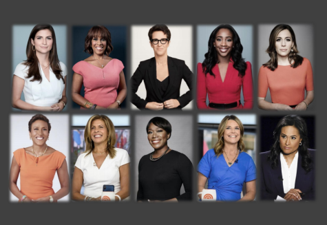 Female news anchors from networks MSNBC, CNN, CBS, and NBC (L-R;  top: Kaitlen Collins, Gayle King, Rachel Maddow, Abby Phillip, Hallie Jackson. bottom: Robin Roberts, Hoda Kotb, Joy Reid, Savannah Guthrie, Kristen Welker)