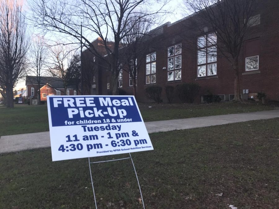 Free Meal Pick-up advertisement outside of York Avenue Elementary School.