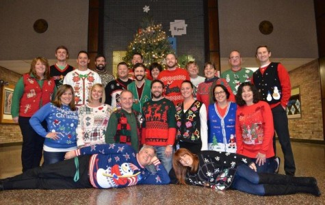 A pre-COVID Ugly Sweater Day staff photo.