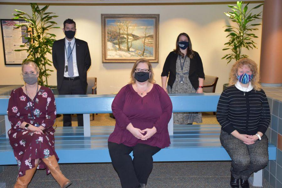 NUMBER CRUNCHING:  Members of the NPSD Business Department. Back row (L-R): Steve Skrocki, Kristin Johnson ; Front row (L-R): Jenny Schmidt, Sandy Burke, Dawn Johnston