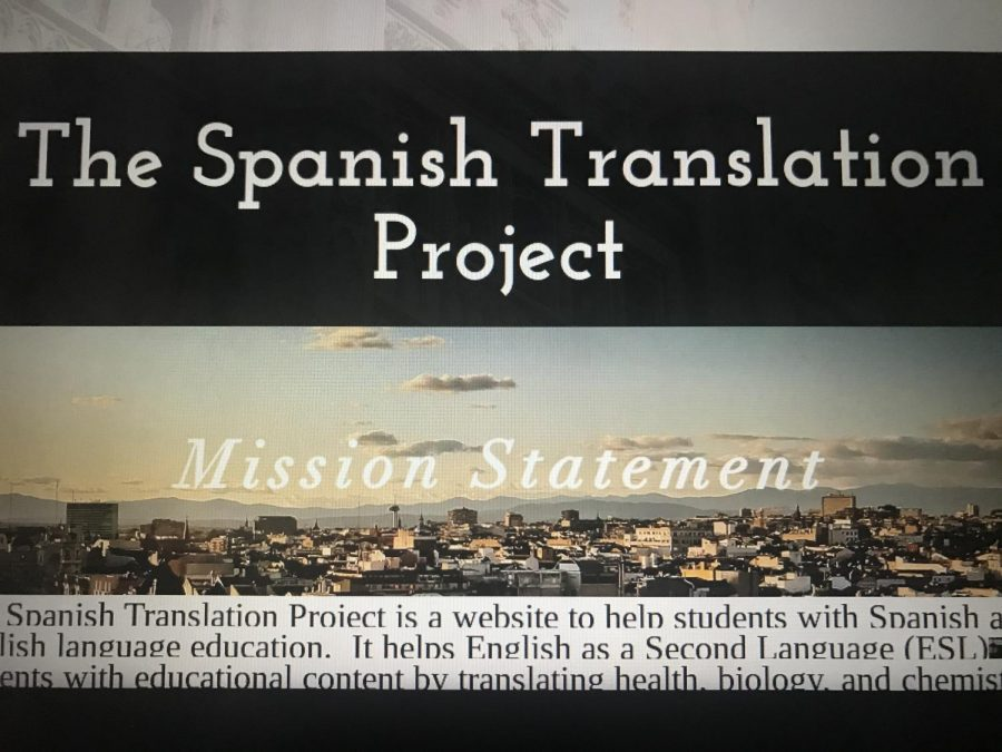 Senior+Catherine+Cavanaugh+created+%22The+Spanish+Translation+Project%22+website+to+connect+English+Language+Development+students+with+Spanish+Honor+Society+Tutors+to+translate+challenging+school+curriculum+from+English+to+Spanish.