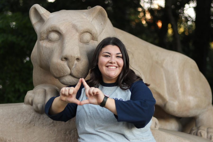 Katie Solomon, 2016 NPHS graduate, at the famous Nittany Lion statue on the campus of Penn State  University. Solomon is the Executive Director of PSU's Thon in 2021.