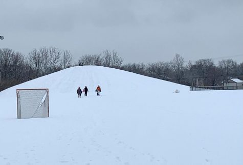 As a result of the Crawford Stadium renovation taking place, a new sledding attraction has risen right next to the softball fields.