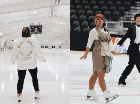 (Image description from L-R) Practice at Hatfield Ice in January 2021; 2019 Theatre on Ice Nationals - Pelham Civic Complex and Ice Arena.