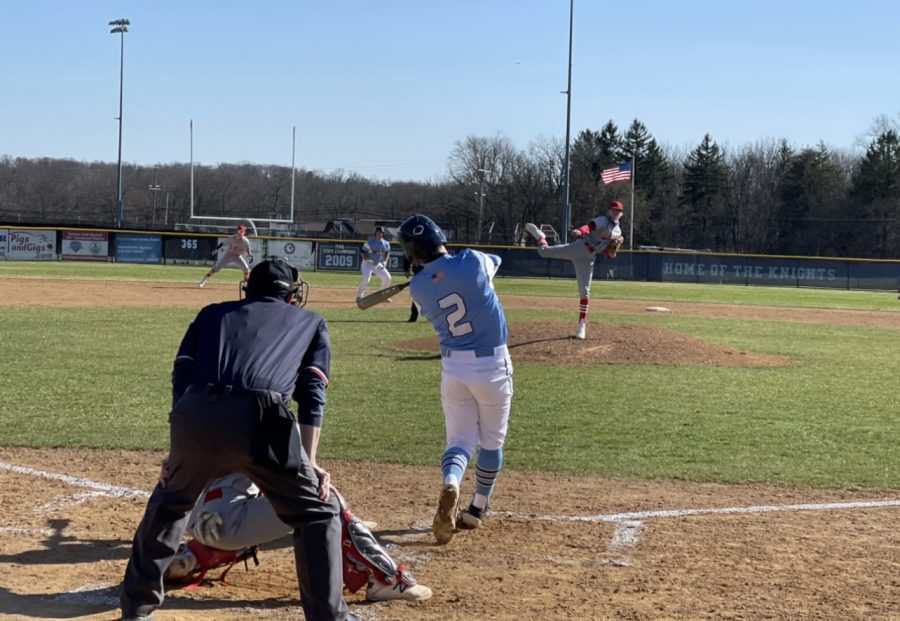North Penn sophomore SS Jack Picozzi takes a rip at the plate during NP's 9-3 season opener win at NPHS on March 29, 2021.
