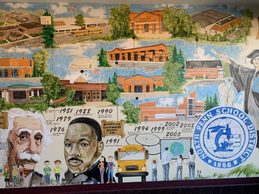 A mural of some of the North Penn schools located at the