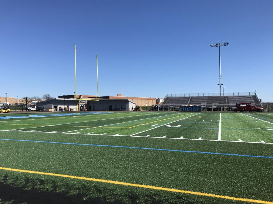 A view of the new field and home bleachers from the away side.