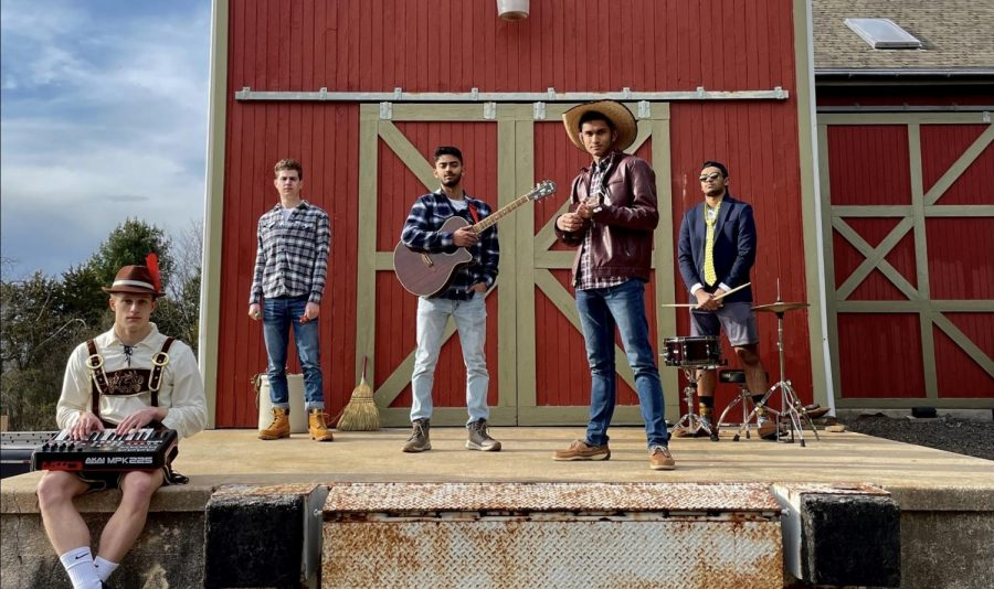 Left to right: Danny Jonson, Jaden Weed, Aarush Hatti, Aditya Datta, and Rihbs Chakrabarti feature in a music video for Susie's Song.